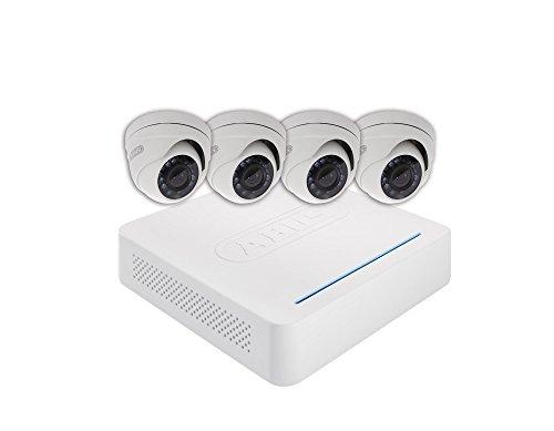 ABUS Videoberwachungsset Analog Digitalrekorder + 4 Auen-Domekameras (Art-Nr tvvr33418 8-Kanal HD Echtzeit Compact CCTV DVR mit 4 Dome Outdoor Kameras und 1 TB HDD – Weiß, 12 V