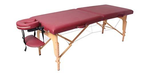Zen Start-Up | Tumbona de masaje plegable y regulable en altura | Mesa de masaje móvil | Mesa cosmética de madera con funda de alta calidad | Estabilidad extra | Certificado TÜV (Burgunda)