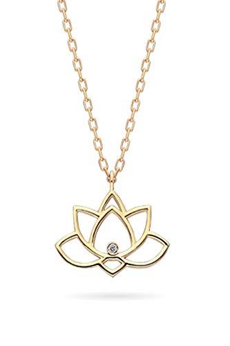 Collar de plata de diamante de 0,02 quilates con cadena chapada en rosa y colgante de flor de loto colgante de plata para mujer y niña