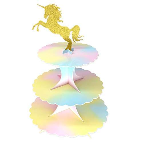 Cardboard Unicorn Cake Stands 3Tier Cupcake Stands Mini Cake Stand Reusable Kid Birthday Baby Shower Party Supplies Dessert Stand