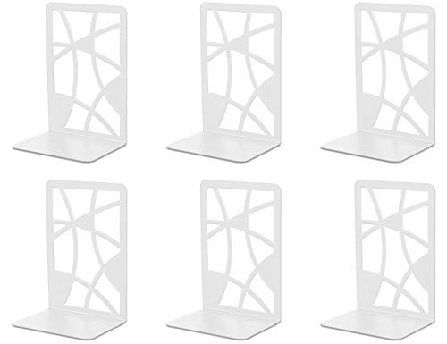 Bookends, Book Ends, veecom 3 Pair White Bookends for Heavy Books, Metal Book Ends for Office Decorative, Non Skid Book Holders for Shelves, Bookend Heavy Duty Book Stoppers