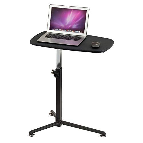 hjh OFFICE 674010 Laptoptisch Stand Schwarz Kleiner Beistelltisch mit Rollen, höhenverstellbar