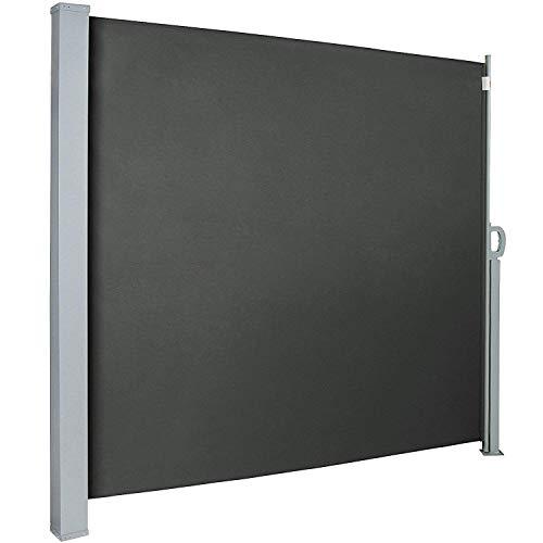 UISEBRT Seitenmarkise 200 x 300cm Seitenrollo Sonnenschutz Sichtschutz Windschutz für Balkon Terrasse Garten, Rauchgrau