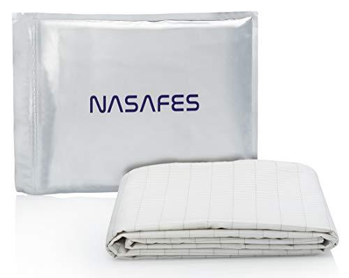 Nasafes Erdungslaken - 280 x 80 cm Erdungsbettlaken, Erdungsbettuch, Baumwolle Bettlaken mit Silberfäden für gesunden Schlaf