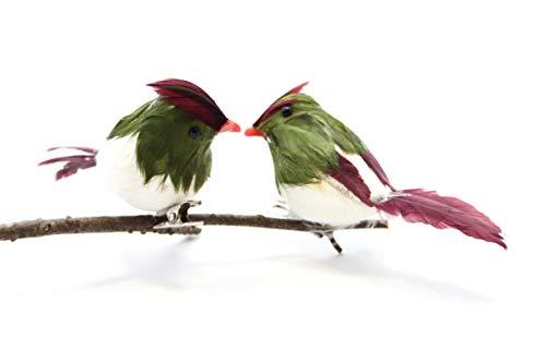 Festive Vert à Plumes Rouge et Blanc Oiseaux à Clipser Décoration Lot de 2