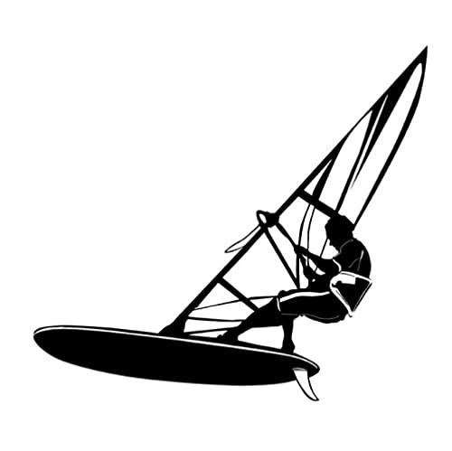 Bhysfenhgttvv 5 Piezas Etiqueta engomada del Coche 17,5 cm * 15,8 cm velero Windsurf Deportes acuáticos Pegatinas de Coche Negro