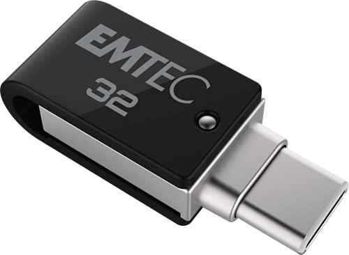 Clé USB 32 Go Dual T260C Mobile&Go - Clef USB 3.2 Pivotante - USB Stick Dual USB-A/USB-C - Système d'Accroche Pivotant à 360° - Vitesse de Lecture 180MB/s Max - Vitesse d'Écriture 15MB/s Max - EMTEC