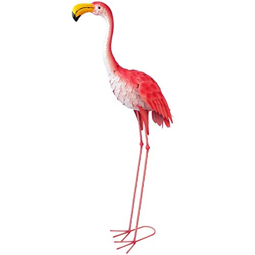 Lifetime Dekofigur Flamingo 44x19x104cm aus Metall, Gartenfigur Gartendekoration Standfigur Teichdeko Teichfigur