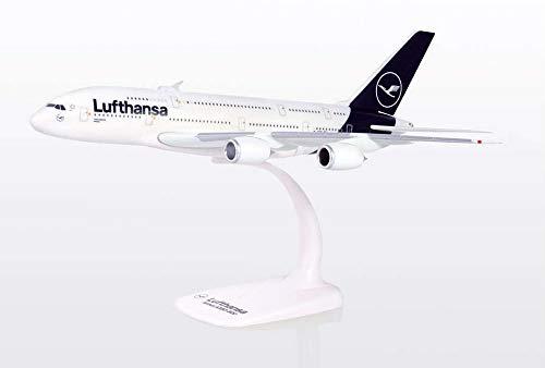 herpa 612319 – Airbus A380, Lufthansa Doppeldecker, Wings, Modell Flugzeug mit Standfuß, Modellbau, Miniaturmodelle, Sammlerstück, Kunststoff, Snap Fit - Maßstab 1:250