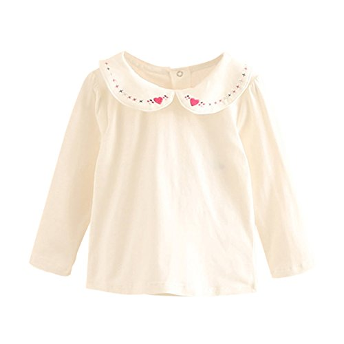 Mud Kingdom Little Girls Long Sleeve Cotton Embroidered T-Shirts Turn-Down Collar Base Top Love 5T