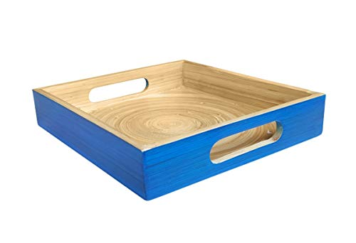 Compact Medium Square 10 Inches Bamboo Serving Tray Blue - By South Asia Trading 5205