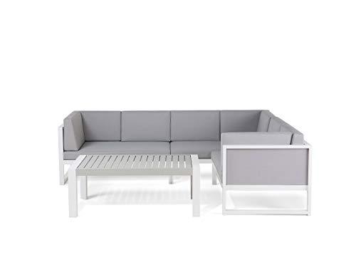Tuinmeubel, hoekbank en salontafel, aluminium, wit en grijs