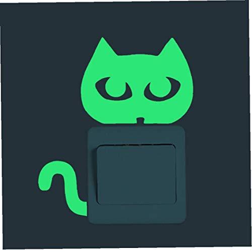 1pc Interruptor De La Luz Etiqueta De Dibujos Animados Luminoso Resplandor En La Oscuridad Etiqueta Engomada del Gato Etiqueta De La Pared del Sitio del Cabrito Decoración Decoración