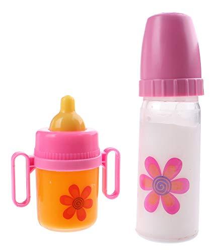 JohnToy 27475 Baby Rose Puppen Trinkflaschen 2 Stück
