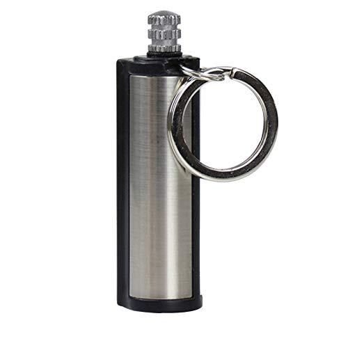 DAMANY Drachenatem Unsterblicher Feuerstarter Metall Schlüsselbund Feuerstein Wasserdichtes nachfüllbares Kerosinfeuerzeug für das Überleben im Notfall im Freien, temporäres Feuerzeug (Schwarz)