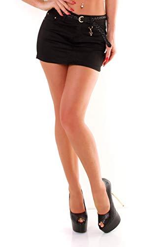 OSAB 4488 Fashion Damen Mini Rock Baumwolle Gürtel Minirock Stretch Slimline Streetwear