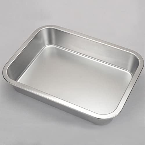 Bandeja de acero inoxidable 304 de aluminio, rectangular, antiadherente, para hornear, molde de torta de pan, accesorios de cocina (color: 45 x 35 x 7 cm)