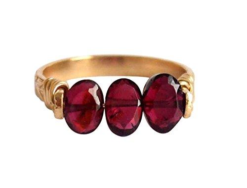 Gemshine - Damen - Ring - Spannring - Vergoldet - Granat - Dunkelrot, Ringgröße:59 (18.8)
