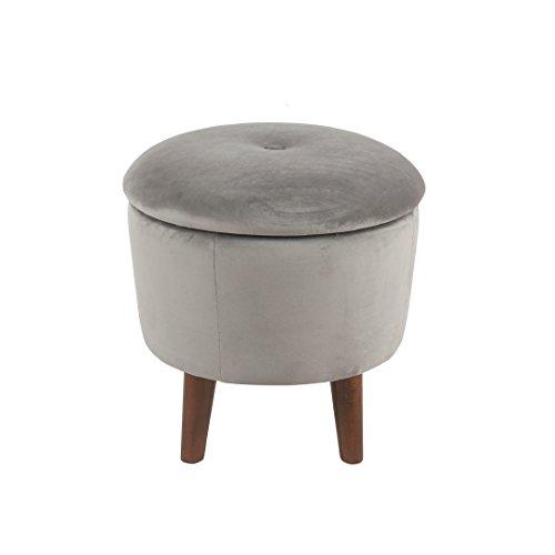 Spatial Order Miller Modern 18 Inch Round Velvet Tufted Storage Ottoman, Grey