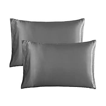 Satin Pillowcase for Hair and Skin 2-Pack – Queen  20 x 30 inches  Satin Pillow Cases Silky Soft Pillow Cover with Envelop Closure  Queen Dark Grey