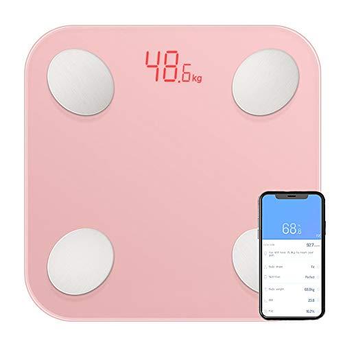 CFFDDE Digitale weegschaal, lichaamsanalyseweegschaal, bluetooth-smart-weegschaal, ondersteuning voor 14-talige app, spraakmeldingen, voor lichaams- en vochttests roze