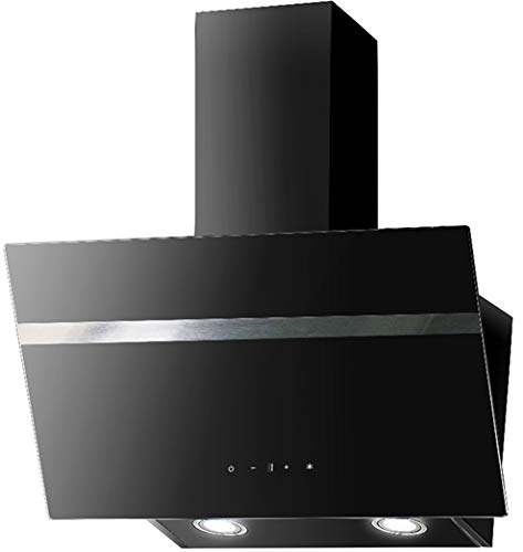 Dunstabszugshaube Schwarz | 90cm | Randabsaugung | Touch Control & LED Beleuchtung | EEK A | 415m³/h - 616m³/h Luftstrom | Abluft- und Umluft