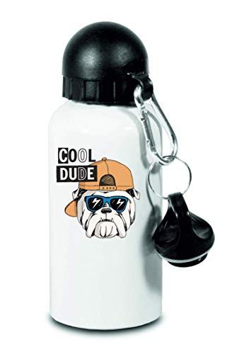 Drucklebnis24 – Botella – Bulldog perro gorro gafas de sol – para niños, escuela, deporte, fitness – Botella de agua fina de aluminio, color Blanco, tamaño 500 ml