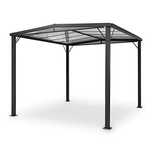 blumfeldt Pantheon Solid Sky Flat Pergola - Vordach Anbaupavillon, 300 x 300 cm, Regen- und Sonnenschutz, Rahmen: Aluminium mit Pulverbeschichtung, Dach: Polycarbonat (PC), Schwarzgrau