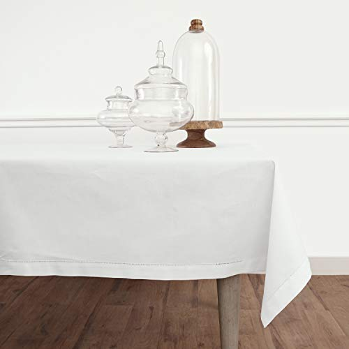 Solino Home Hemstitch Cotton Linen Tablecloth – 58 x 120 Inch, Natural Fabric Machine Washable - White Tablecloth for Indoor and Outdoor use New Mexico