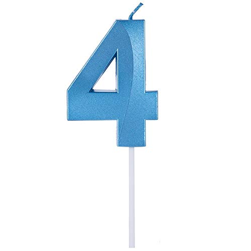 Birthday Candles Extended Big Number Candle Multicolor 3D Design Cake Topper Decoration for Any Celebration(4 Candle Blue)
