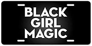 ASLGlicenseplateframeFG Black Girl Magic License Plate Cover Novelty Metal License Plate for Front of The Car Vanity Gifts