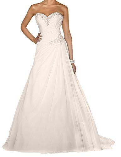 Brautkleider Hochzeitskleider Vintage Lang Prinzessin Standesamt A-Linie Brautmode mit Schnürung Elfenbein 52