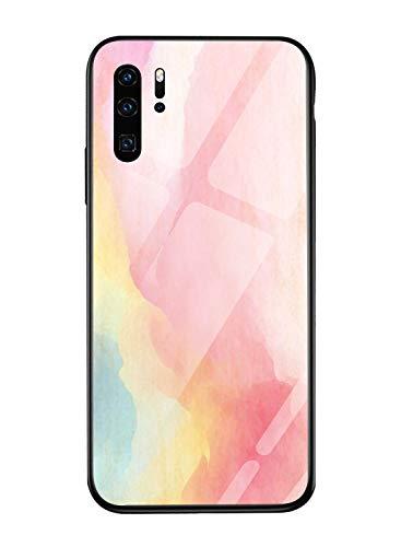 Oihxse Mode Coloré Dégradé Case Compatible pour Huawei Honor 9 Lite Coque Revêtement Arrière en 9H Verre Trempé Protection Housse Mignon Silicone Bord Bumper Anti Rayures Etui