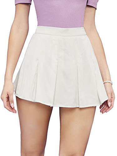 SheIn Women's Pleated High Waist Skort Above Knee A Line Flare Skirt Shorts Medium White