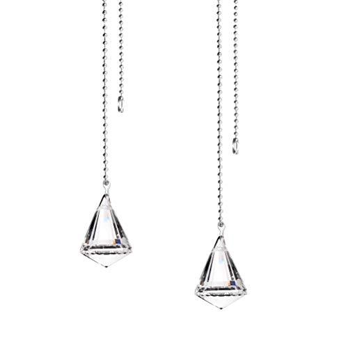 Jky Plafondventilatortrekketting voor plafondventilatoren, kristallen diamanten verlengbladen, bol, druppelvorm voor plafondventilatorketting