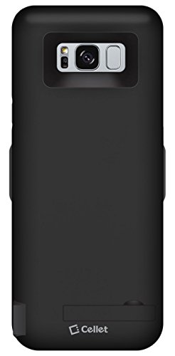 Cellet 5500 mAh Rechargeable External Battery Case Compatible for Samsung Galaxy S8 Smartphone with Extra 2 USB Port. to Charge a Second Device as Power Bank. (for Galaxy S8 5.8 inch) Black