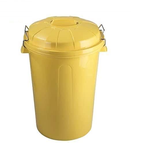 CABLEPELADO Cubo Basura plastico Comunidad con Tapa 100 litros (Amarillo)