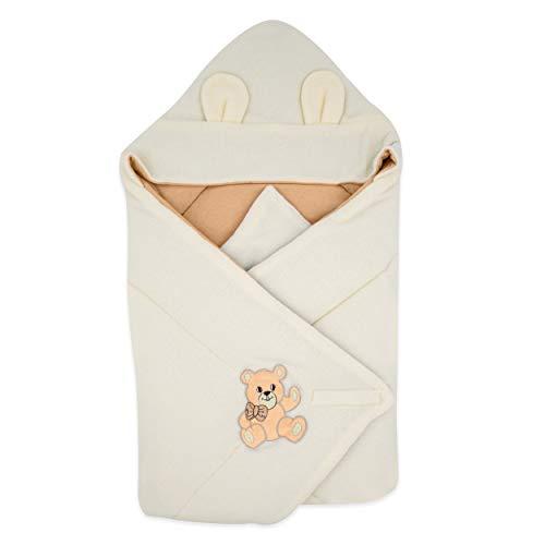 BlueberryShop Thermo Terry coperta con cappuccio per avvolgere il bambino, Sacco a pelo per neonati, Baby Shower, 78 x 78 cm, Albicocca