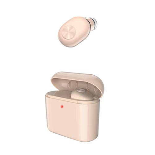 ibasenice Bluetooth-Headsets, Mini Single Drahtlose Bluetooth Kopfhörer Headset In-Ear Hohe Ohrhörer Sport Workout Laufen Kopfhörer Anruf annehmen (Hautfarbe)