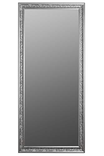 elbmöbel Wandspiegel Spiegel Antik Stil Barock mit Facettenschliff - XL Ankleidespiegel Ganzkörperspiegel Garderobenspiegel Holzrahmen, Farbe:Silber, Größe:162 x 72 cm