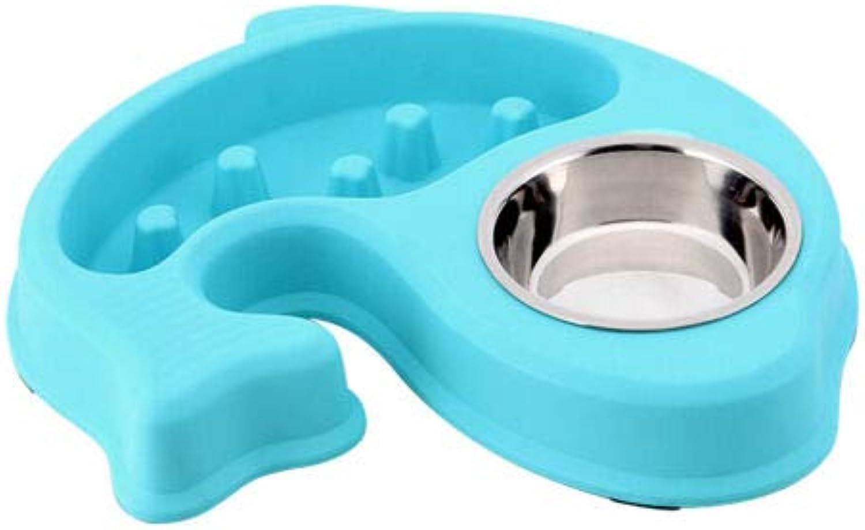 FidgetGear 2 in 1 AntiChoke Dog Bowl Slow Feeder Double Bowls Food Water Dish Pet Supplier bluee