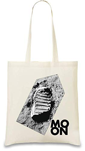 Mond-Fußabdruck - Moon Footprint Custom Printed Tote Bag| 100% Soft Cotton| Natural Color & Eco-Friendly| Unique, Re-Usable & Stylish Handbag For Every Day Use| Custom Shoulder Bags By Josh God