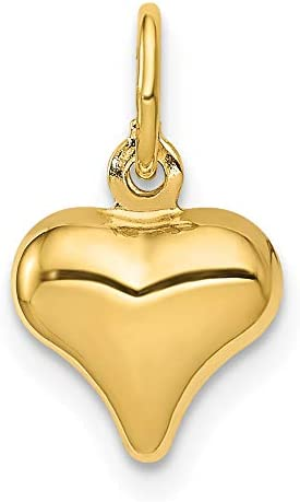 Mireval 14k Yellow online shopping Gold Mini List price Puffed 14 mm 9 Heart Charm x