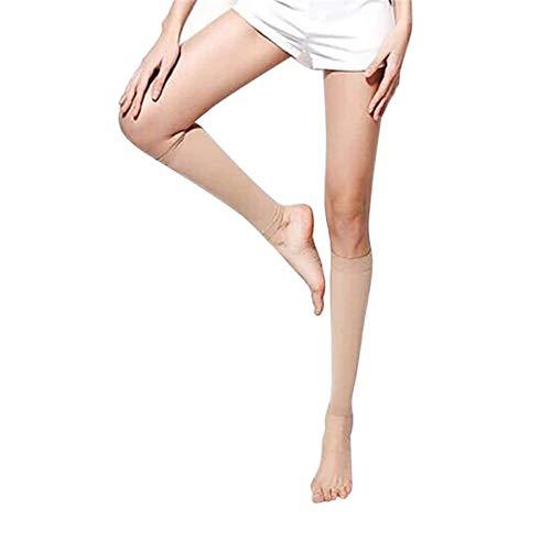 EROSPA® Kompressions-Sleeve Beinstulpen Laufstrümpfe – Waden Kompressionsstrümpfe – Laufen, Joggen, Radfahren – 1 Paar (Beige) - 4