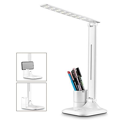 ZRN Lámpara de Mesa LED Plegable con Soporte para teléfono móvil, Soporte para bolígrafo, atenuación Continua táctil, 3 Modos de iluminación, Puerto de Carga USB