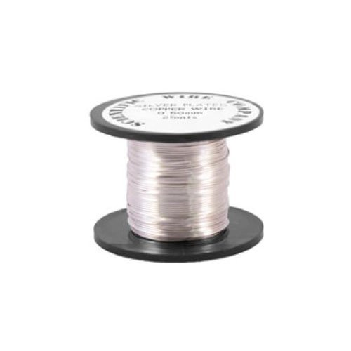 Silver Plated Craft And Jewellery Making Copper Wire 20 Metres 0.4 mm Coil W2040