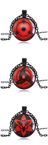 (3 pack) Naruto Master Online Write round eye Pendant Chain Necklace Plastic for Anime Cosplay - Metal