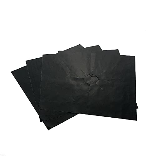 MWQCEW 10pc Reusable Gas Hob Protector Non-stick Removable Easy-clean Foil Gas Hob Protect Liner Cover Adjustable to Any Gas Hob (Color : Black)