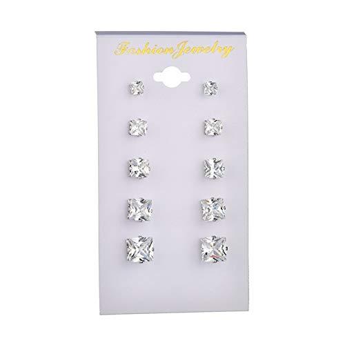 MURUI EH Love Ear Classic Six Jaw Zircon Pendientes de cristal 6 pares de pendientes Yc609 (color: cuadrado)