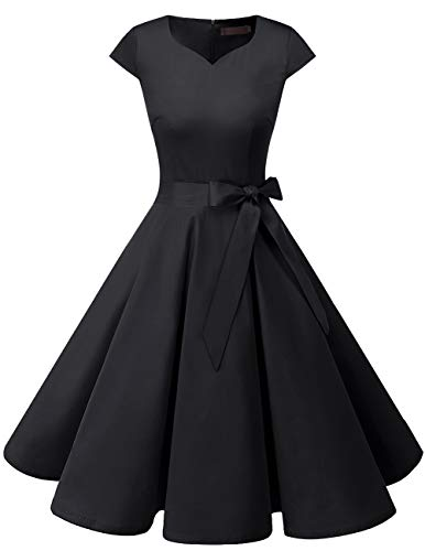 Dresstells Damen Vintage 50er Cap Sleeves Rockabilly Swing Kleider Retro Hepburn Stil Cocktailkleid Black 2XL